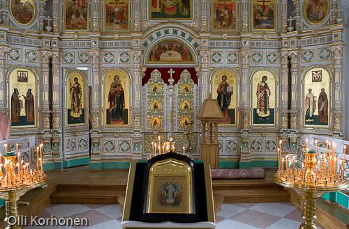 Kuva: Valamon luostari, ikonostaasi eli kuvaseinä. Ikonit.