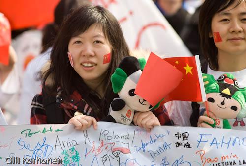 Tukholma 2008, mielenosoitus Pekingin olympialaisten puolesta.