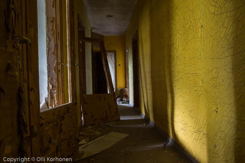 Hylätty Nalle aution talon keltaisessa käytävässä.