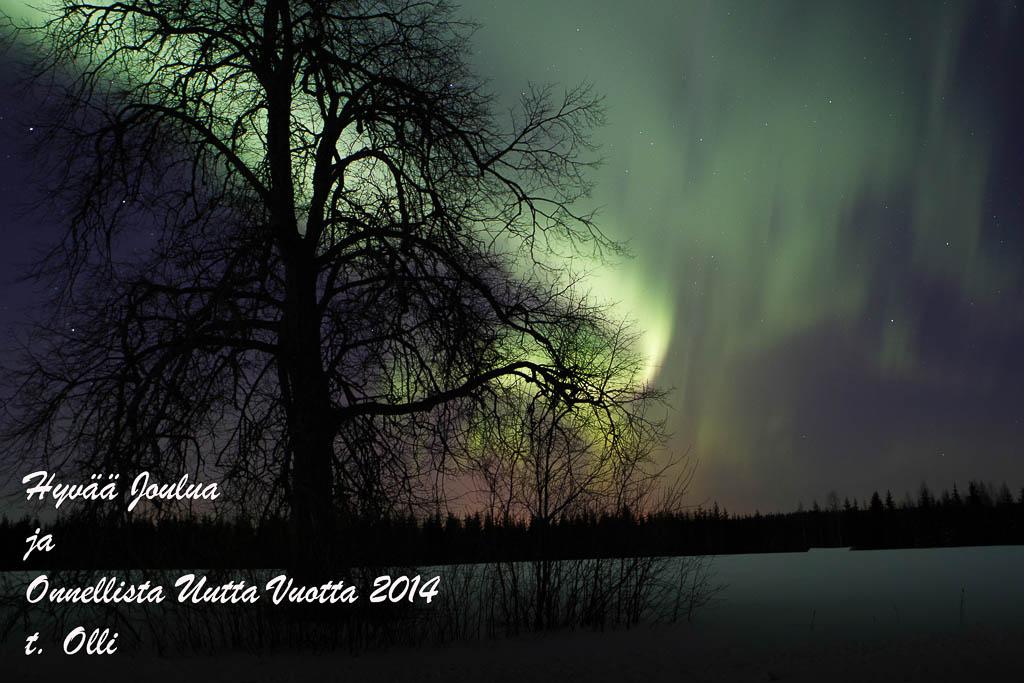 Joulukortti, Revontulet, Mustolanmäki, Suonenjoki.