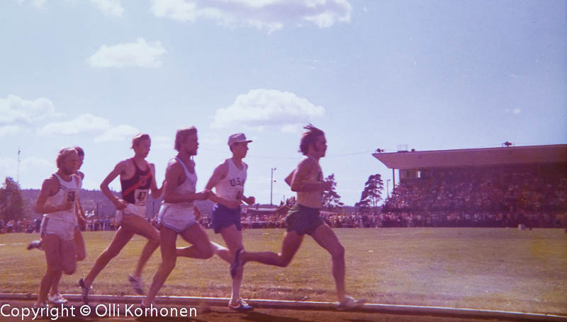 Steve Prefontaine leading, David Wottle second, Kajaani 1973.