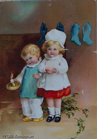 vanha joulukortti v. 1916.