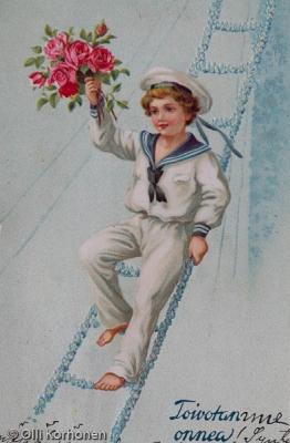 Vanha onnittelukortti, v. 1914.