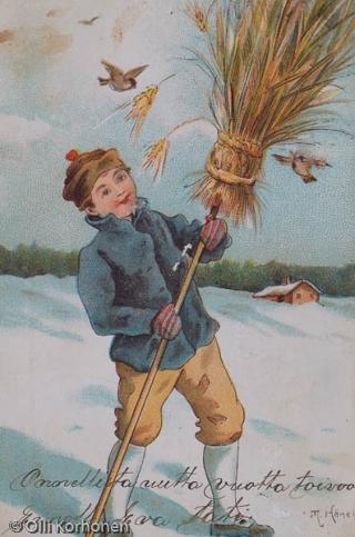 Vanha uudenvuodenkortti, Poika ja kauralyhde, v. 1904.