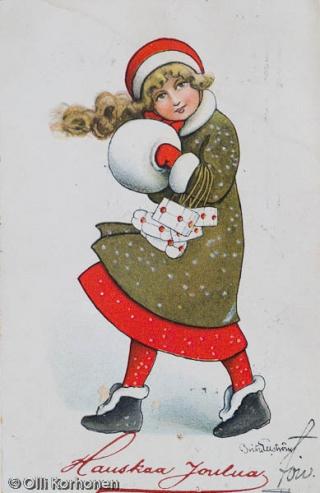 Vanha joulukortti v. 1914.