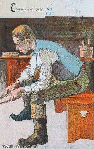 Puunvuolija, vanha kuvapostikortti v. 1914.