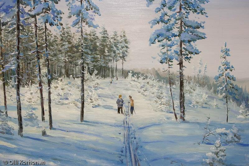 Hiihtäjät talvisessa metsässä , öljyvärimaalaus, Petroskoi 2011