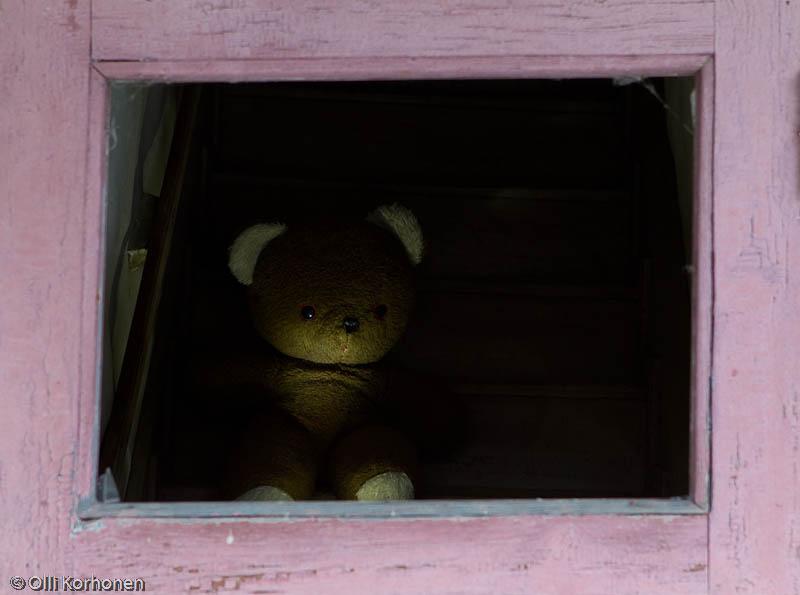 Nalle aution talon ulko-oven ikkunassa.