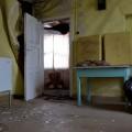Hylätty Nalle autiossa kaksikerroksisessa talossa
