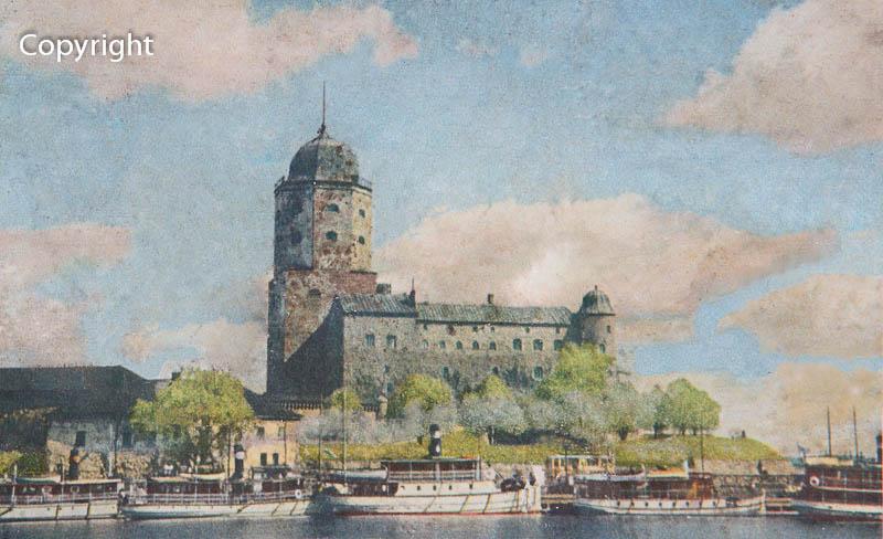 Korjattu Viipurinlinna postikortti 1944