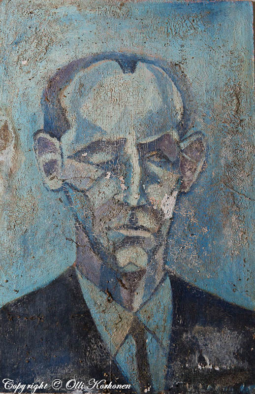 miehen kasvot, akvarelli, autiotalon maalaus